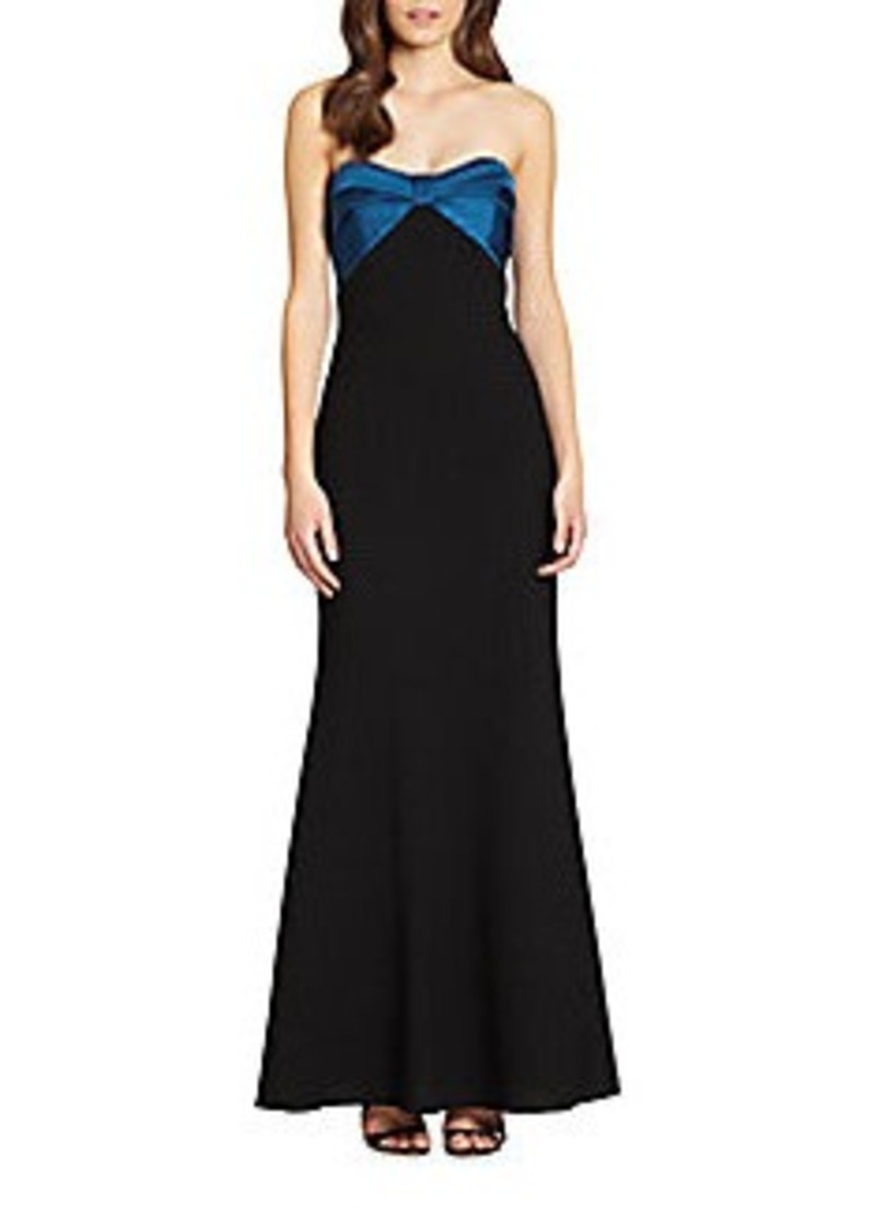 David Meister Bow-Bustier Strapless Gown