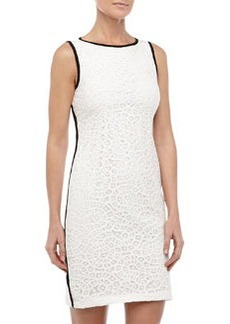 Isaac Mizrahi Battenberg Lace Piped Cocktail Dress, White/Black