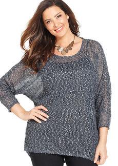 Alfani Plus Size Sequin-Embellished Sheer Top