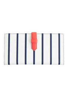 Stripe leather travel wallet