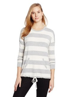 Kensie Women's Drapey French-Terry Striped Pullover Shirt