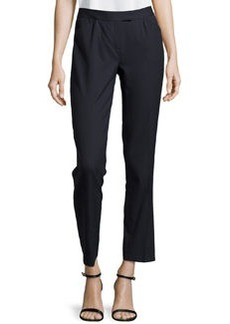 Lafayette 148 New York Contemporary Narrow Stretch-Knit Pants, Navy