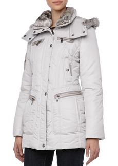 Andrew Marc Pulse Outerwear System Coat w/ Fur Trim, Ice