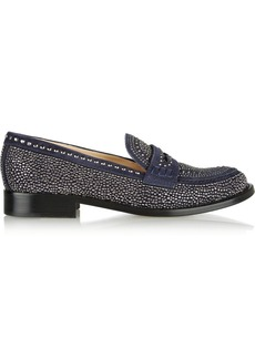 Valentino Crystal-embellished suede loafers