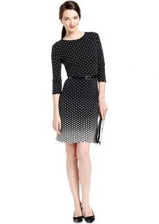 Charter Club Petite Three-Quarter-Sleeve Polka-Dot Belted Dress