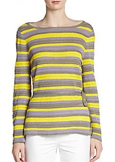 Lafayette 148 New York Striped Bell-Sleeve Sweater