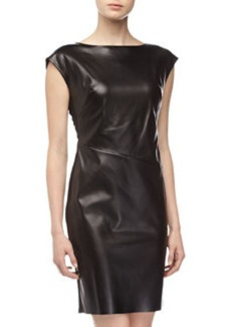 Catherine Malandrino Leather-Front Dress, Black