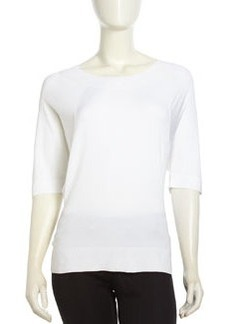 Lafayette 148 New York Voile Dolman Pullover Sweater, White