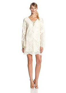 Twelfth Street by Cynthia Vincent Women's Scallop Lace Bell Sleeve Shift Dress