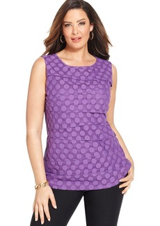 Alfani Plus Size Sleeveless Tiered Polka-Dot Top