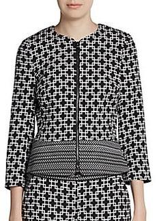 Saks Fifth Avenue BLACK Printed Zip-Front Jacket