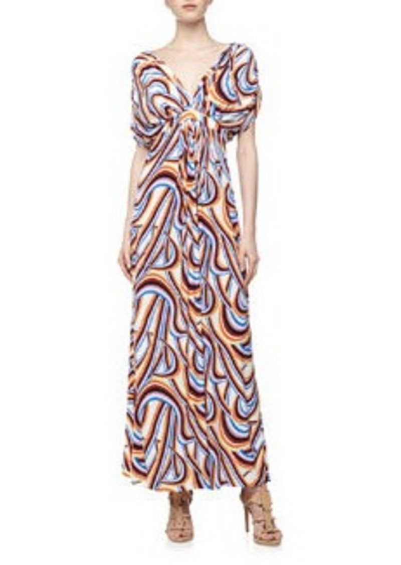 T Bags Swirl Print Mirrored V Maxi Dress