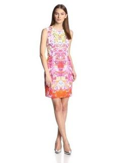 Elie Tahari Women's Holly French Bouquet Printed Eyelet Sleeveless Dress