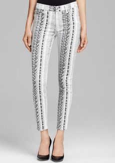 7 For All Mankind Jeans - Ankle Skinny in Black White Reptile