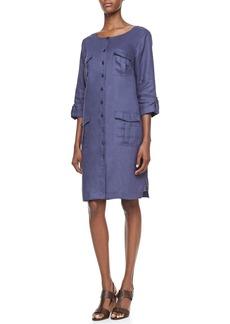 Go Silk Linen Pocket-Front Shirtdress, Women's
