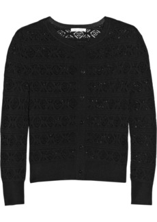 Oscar de la Renta Cropped crocheted stretch-knit cardigan