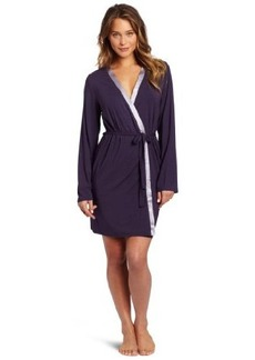 Calvin Klein Women's Essentials With Satin Long Sleeve Short Robe
