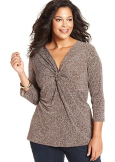 Charter Club Plus Size Dot-Print Twist-Front Top