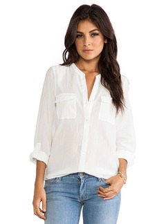 Joie Ginette Button Down Blouse in White