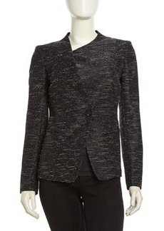 Lafayette 148 New York Piped Tweed Button-Front Blazer, Black Multi