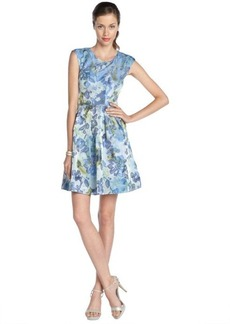 A.B.S. by Allen Schwartz ocean blue and green stretch jacquard floral pattern sleeveless dress