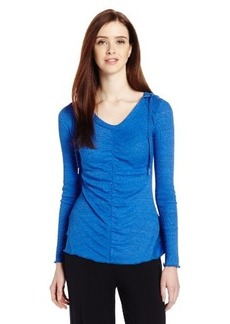 Calvin Klein Performance Women's Space Dye Hooded Tee with Ruffle Back