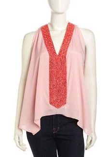 T Bags Sleeveless Beaded V-Neck Chiffon Blouse, Pink