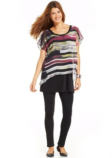 Style&co. Striped-Chiffon Overlay Top