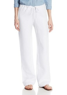 Three Dots Women's Wide Leg Drawstring Linen Pant