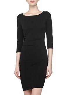 James Perse Asymmetric Bateau-Neck Dress, Black