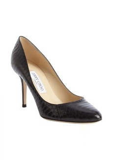 Jimmy Choo black snakeskin almond toe pumps