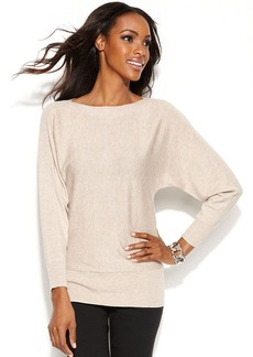 Alfani Petite Ribbed Panel Dolman Sweater