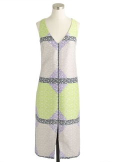 Collection wool-silk dress in windowpane floral