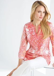 Charter Club Petite Three-Quarter-Sleeve Linen Embroidered Tunic Top
