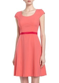 Marc New York by Andrew Marc Two-Tone Ribbon Trim Fit-And-Flare Dress, Petunia