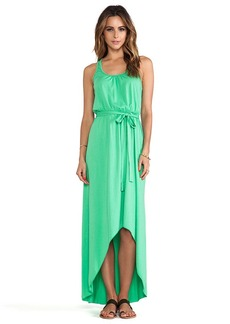 Michael Stars Seamless Scoop Neck Racer Back High Low Maxi Dress in Green