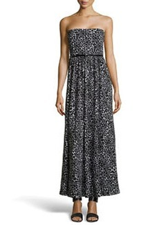 Susana Monaco Strapless Spotted Jersey Maxi Dress, Black