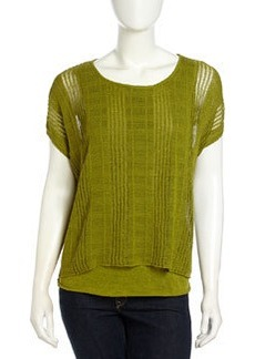 Lafayette 148 New York Layered Open-Stitch Sweater, Chicory