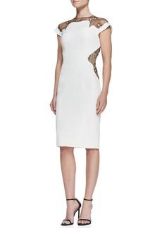 Lela Rose Lace-Inset Sheath Dress, Ivory