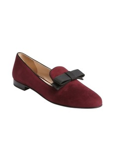 Prada granate suede grosgrain bow loafers