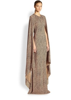 Michael Kors Silk Cape-Sleeve Gown