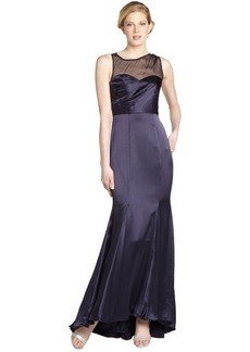 A.B.S. by Allen Schwartz dark midnight satin and silk chiffon sleeveless illusion gown