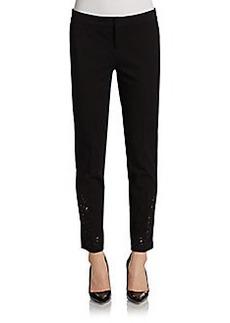 Saks Fifth Avenue BLACK Eyelet Ankle Skinny Pants