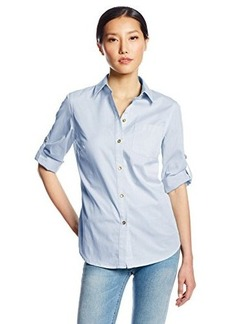 Jones New York Women's Petite Basic Roll Tab Shirt