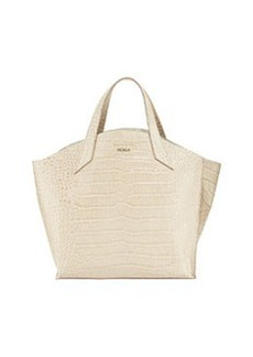 Furla Jucca Croc-Embossed Leather Tote, Marble