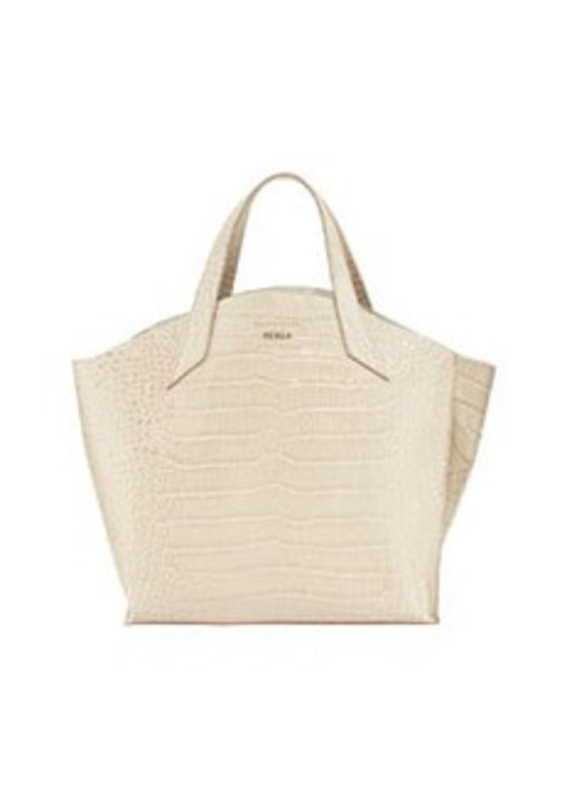 furla furla jucca croc embossed leather tote marble handbags shop it to me. Black Bedroom Furniture Sets. Home Design Ideas