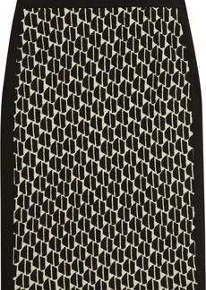 Diane von Furstenberg Alyce Hounds stretch-jersey and jacquard-knit pencil skirt