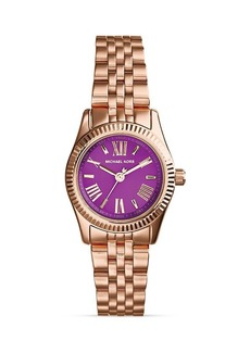 Michael Kors Mini Rose Gold–Tone & Purple Lexington Watch, 26mm