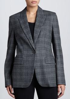 Michael Kors Lynden Flannel One-Button Blazer