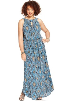 Lucky Brand Plus Size Printed Keyhole Maxi Dress